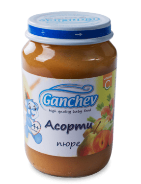 Ганчев Бебешко плодово пюре Асорти 190 гр.